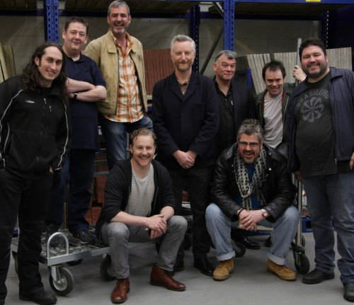 Picture perfect: L to R - Ross Noble,  Johnny Vegas,  Neil Morrissey, Billy Bragg, Stewart Lee, Kevin Eldon, Ricky Grover Seated - Samuel West, Phill Jupitus.