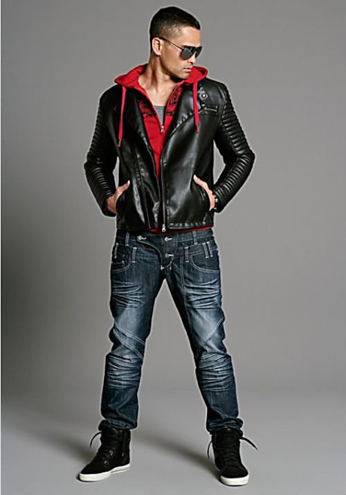 Leather look biker jacket2