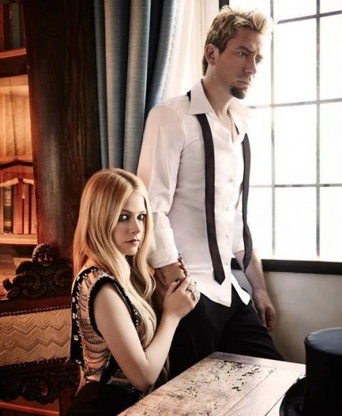 """Avril and """"best birthday present"""" Chad posing for Glamour Italy - Photo by Mark Liddell"""