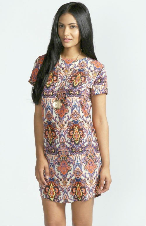 Kelly Paisley Print Short Sleeve Shift Dress1