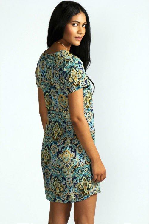 Kelly Paisley Print Short Sleeve Shift Dress3