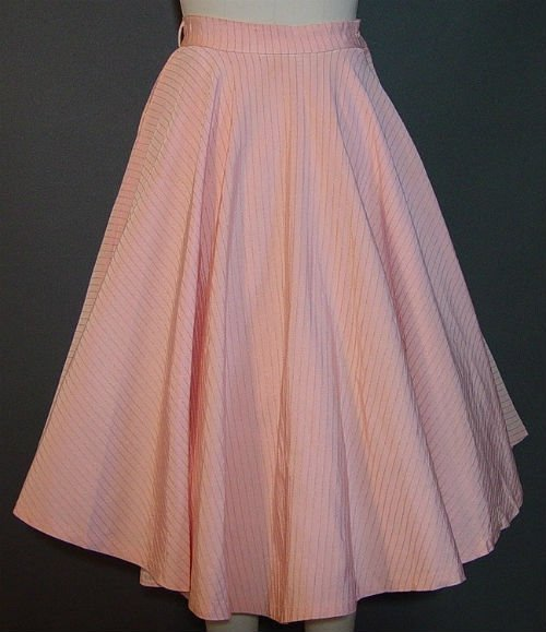 Vintage 50s Peach Pink Full Circle Skirt1