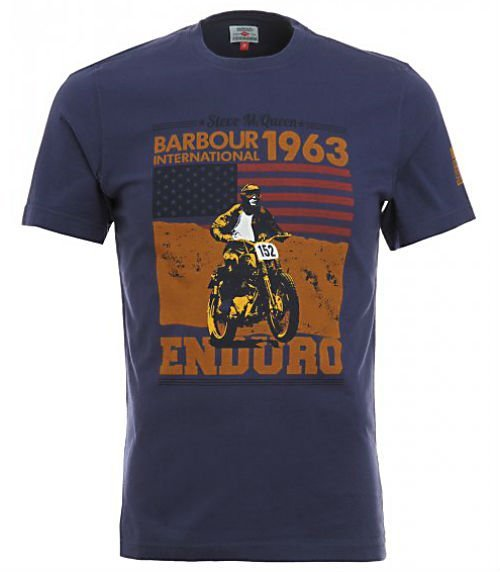 Barbour International T-Shirt Navy Open Road Steve McQueen1
