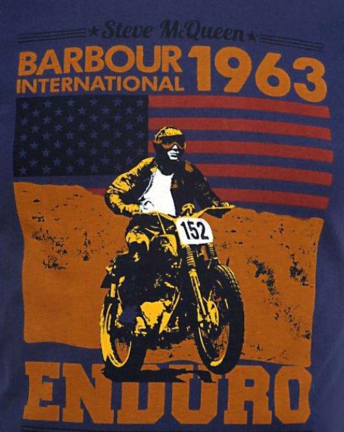 Barbour International T-Shirt Navy Open Road Steve McQueen2