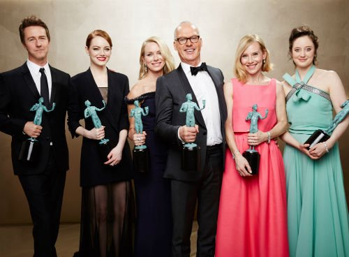 The cast of Birdman: Edward Norton, Emma Stone, Naomi Watts, Michael Keaton, Amy Ryan and Andrea Riseborough