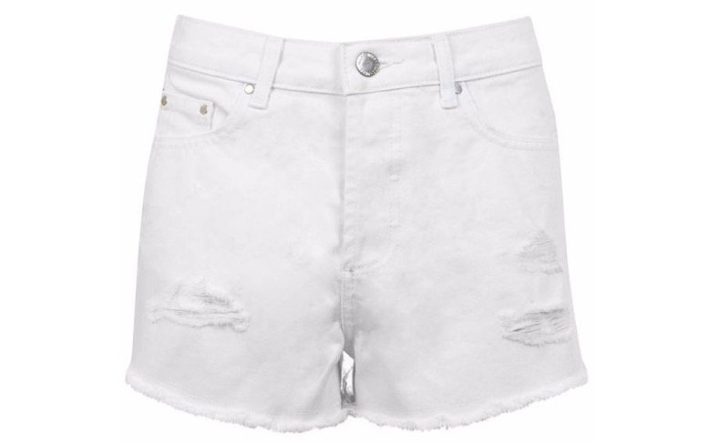 Miss Selfridge White Distressed Denim Shorts Now £22.40 Was £28.00