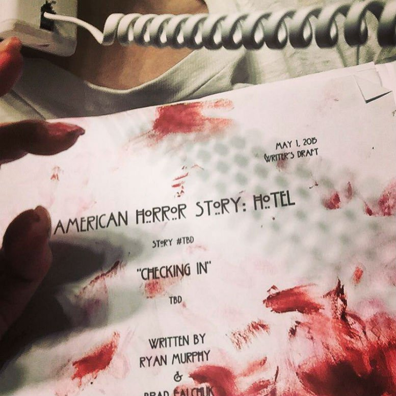 """Just doing a bit of monster homework. Horrible lipstick accident. #AHS..."""