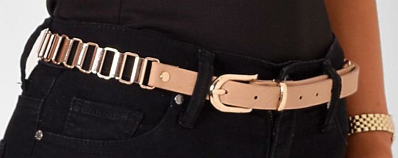 Alessia Nude and Gold Chain Belt