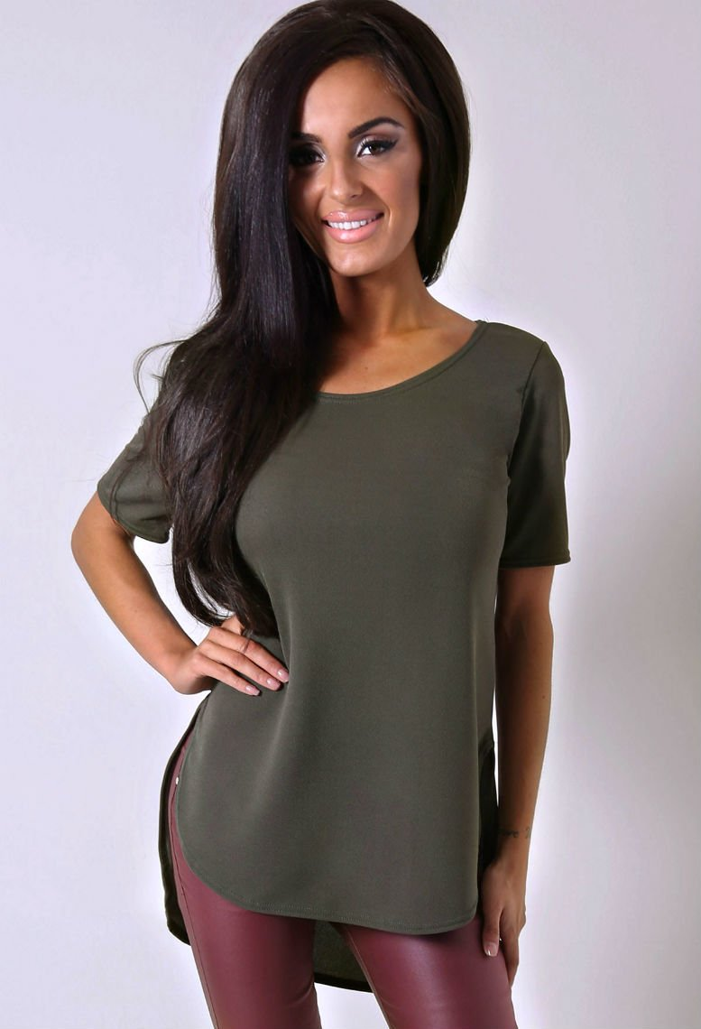 Elara Khaki Drop Hem Top