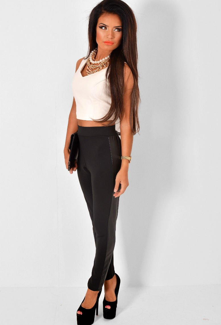 High Waisted Leggings with Leatherette Panels