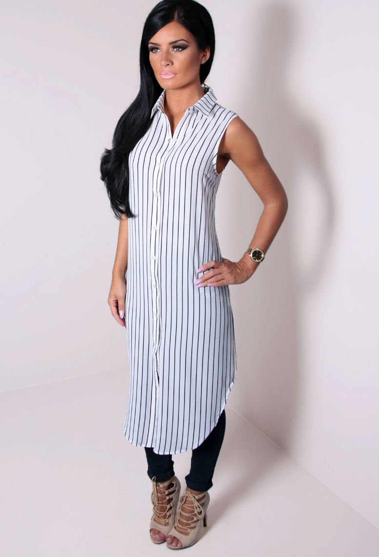White and Navy Blue Button Up Dress