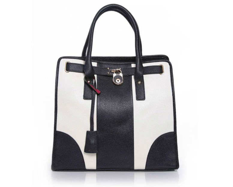 Kato Black and Cream Colour Block Tote Bag