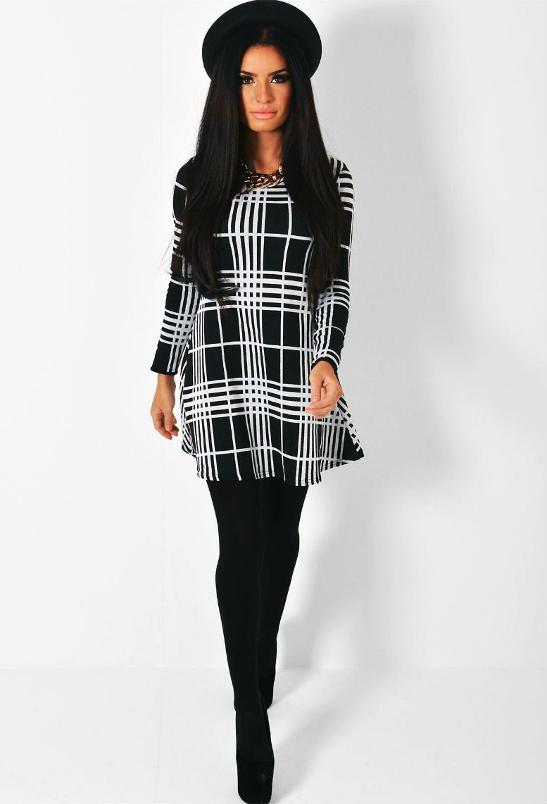 Moxie Monochrome Grid Print Swing Dress