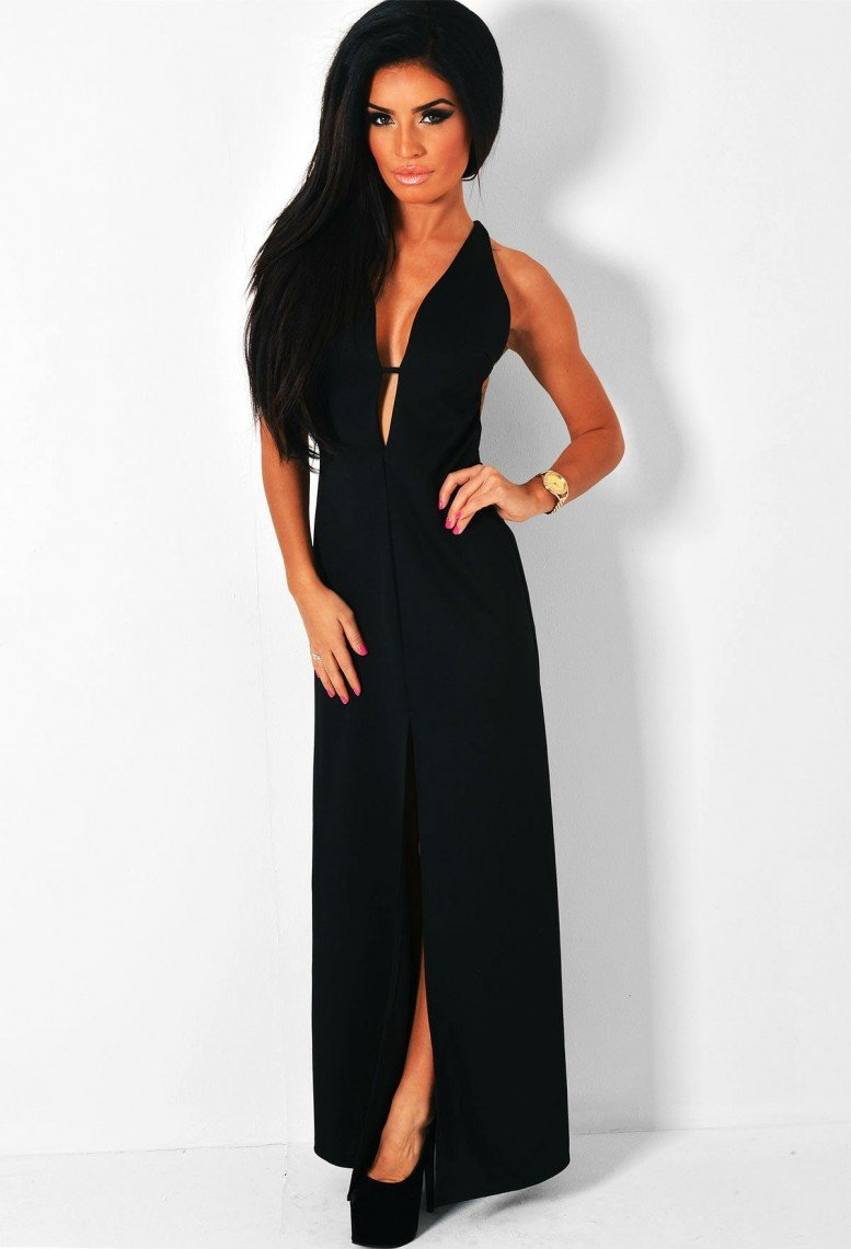 Nightshade Black Deep Plunge Maxi Dress