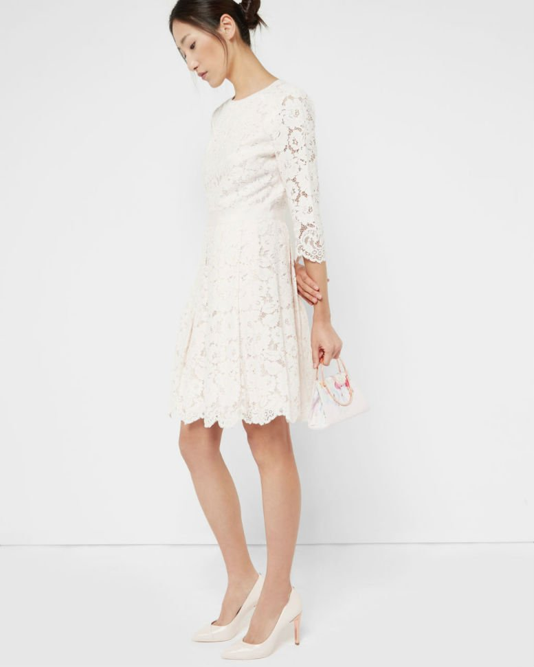 TED BAKER AMEEYA-Lace-skater-dress-Light-Pink
