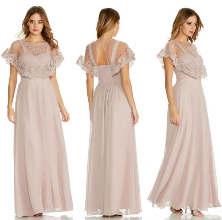 QUIZ Mocha Chiffon V Neck Detachable Cape Maxi Dress