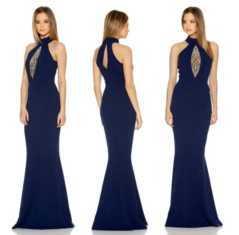 QUIZ Navy Keyhole Turtle Neck Fishtail Maxi Dress