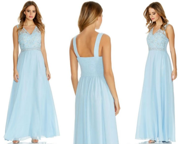 QUIZ Pale Blue Chiffon Embellished V Neck Maxi Dress