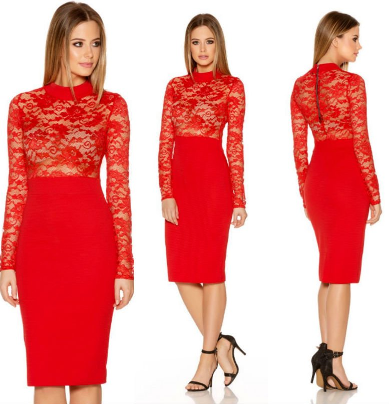 QUIZ Red Lace Long Sleeve Ribbed Midi Dress