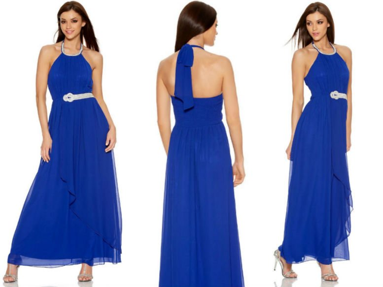 QUIZ Royal Blue Chiffon Diamante Maxi Dress