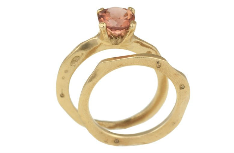 Sunset Bridal Ring Set by Audrius Krulis. 18K Yellow Gold and Tourmaline