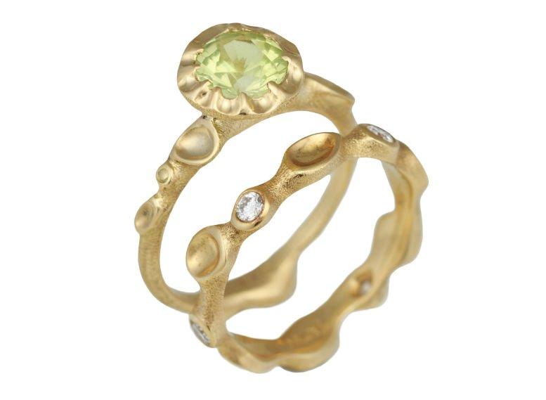 Wildflower Bridal Ring Set by Audrius Krulis. 18K Yellow Gold, Green Tourmaline and White Diamonds